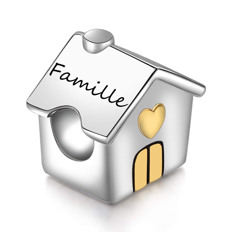 SIMPORDS Charm Mère Femme Gravé Maison d'amour Cadeau pour Maman ou Fille FR-SPC002