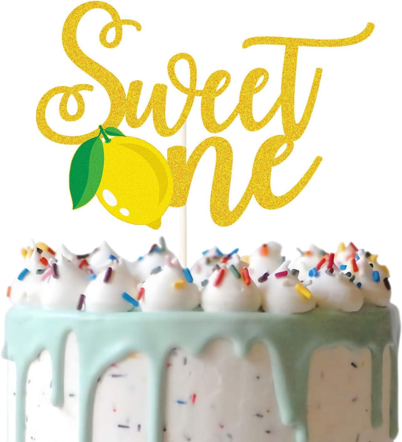 Gold Glitter Lemon Sweet One Cake Topper, Lemon One Cake Decor, Summer Lemon Theme 1st Birthday Party Supplies, Lemonade Party Decoration