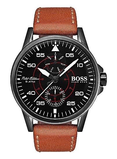 Hugo BOSS Reloj Multiesfera para Hombre de Cuarzo con Correa en Cuero 1513517: Amazon.es: Relojes