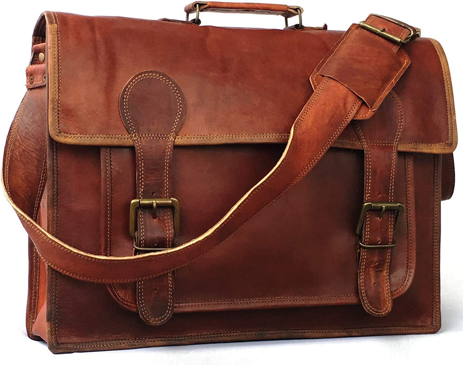 cuero Vintage Couture 18 Inch Genuine Business Leather Laptop Messenger Bag (16 Inch Brown)