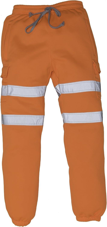 Yoko Mens 2 Band Hi VIS Viz Safety Jogging Bottoms Pants Joggers Safety Work Trousers