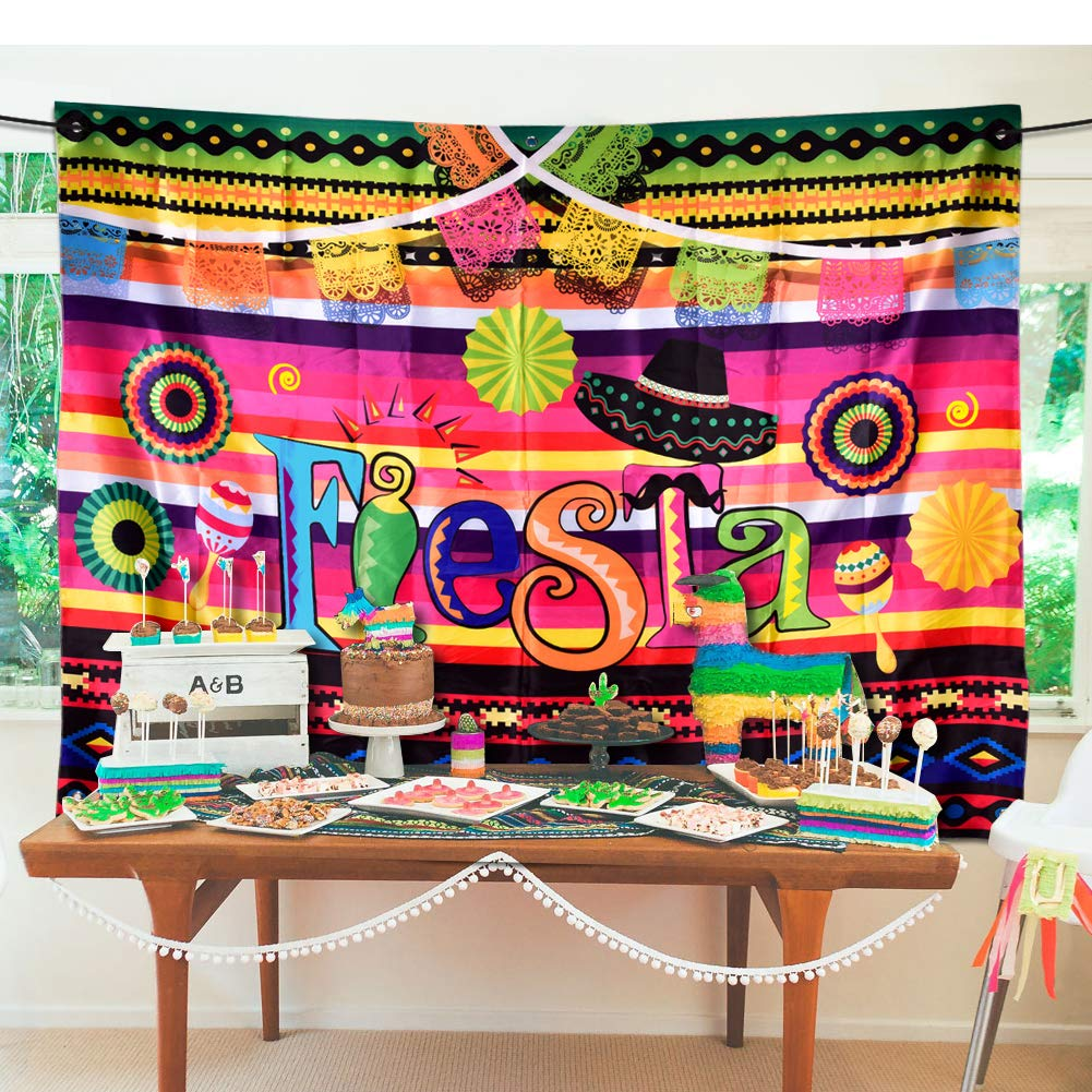 Fiesta Theme Photography Backdrop Mexican Themed Dress-up Photobooth for Summer Fiesta Luau Theme Cinco De Mayo Birthday Pool Party Supplies Decorations by TMCCE (Image #6)