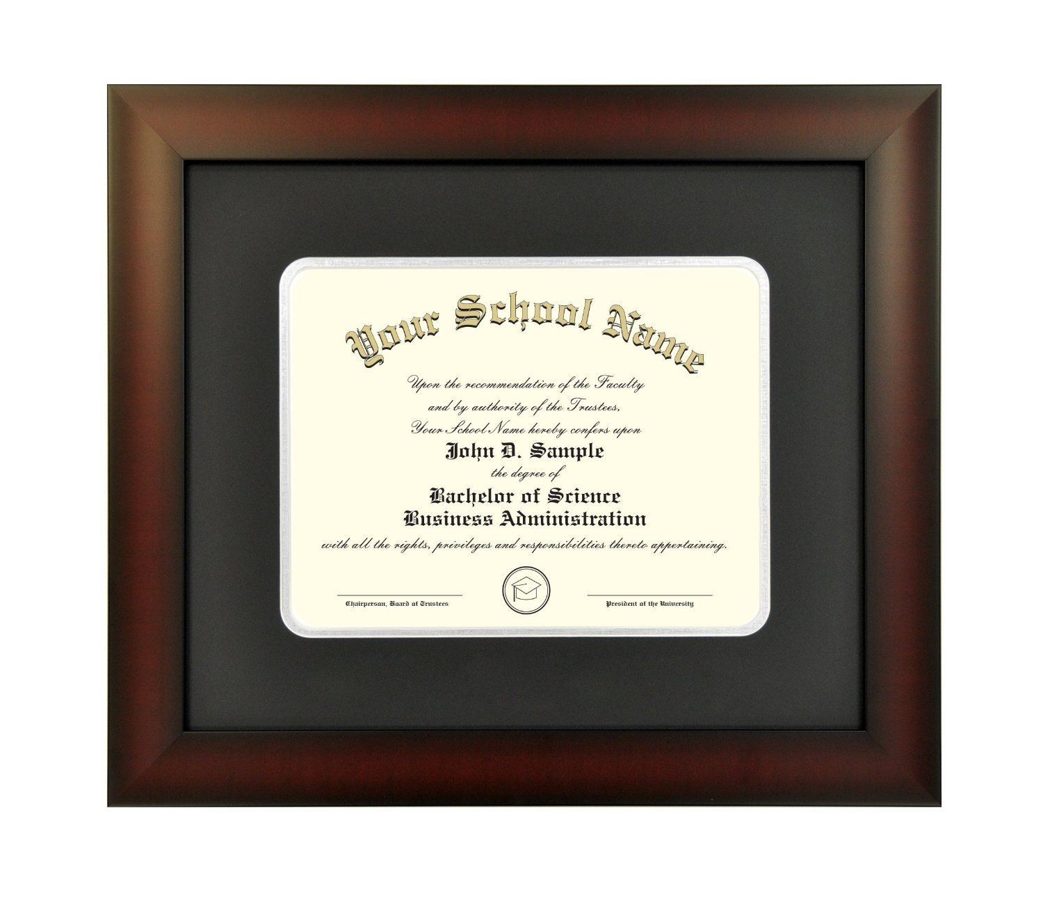 Mahogany Finish Infinity Diploma Frame with Black and Silver Mats by Celebration Frames (8 x 10