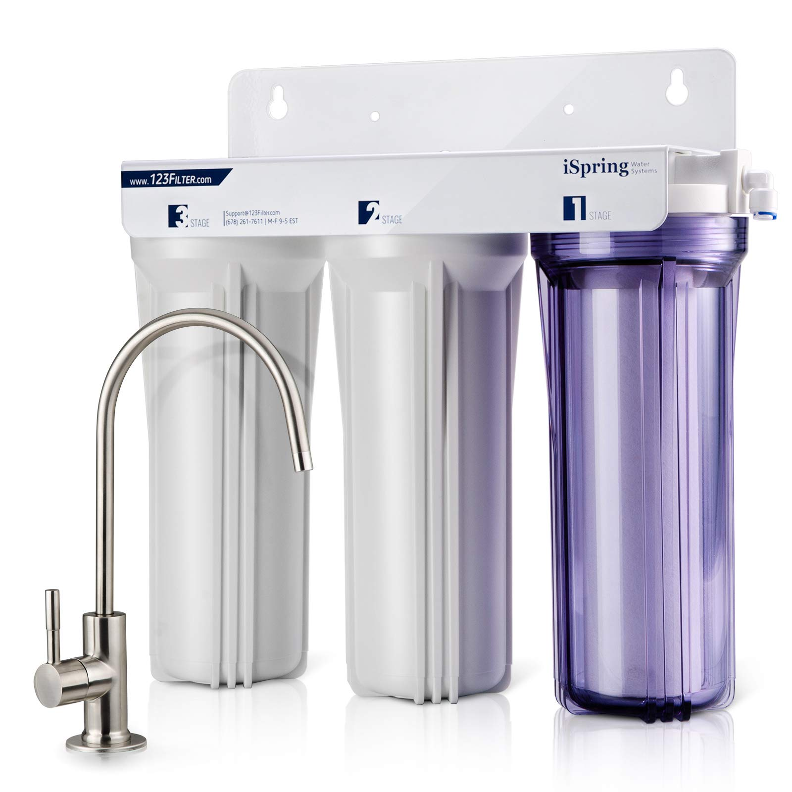 iSpring US31 3-Stage Under Sink High Capacity Tankless Drinking Water Filtration System-Includes Sediment 2X CTO Carbon Block Filters (Newest Version) by iSpring