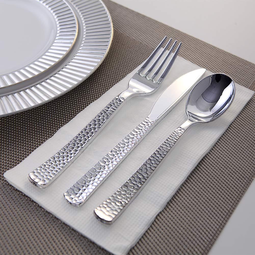 180 pieces Silver Plastic Silverware, Party Supplies Plastic Flatware, Plastic Silver Hammered Cutlery for Wedding Enjoylife (Silver) by EnjoyLife Inc (Image #5)