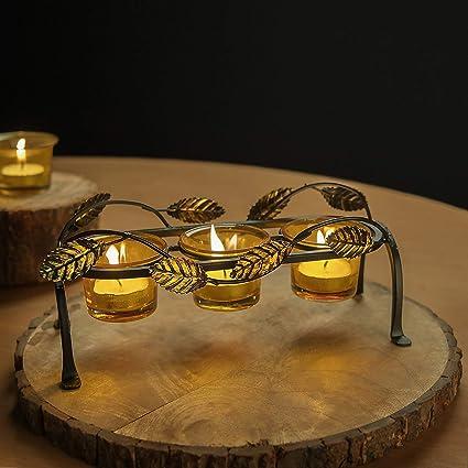 Home Sake Elegante portavelas Decorativo con diseño de Hojas de votivo, 3 Vasos de Cristal