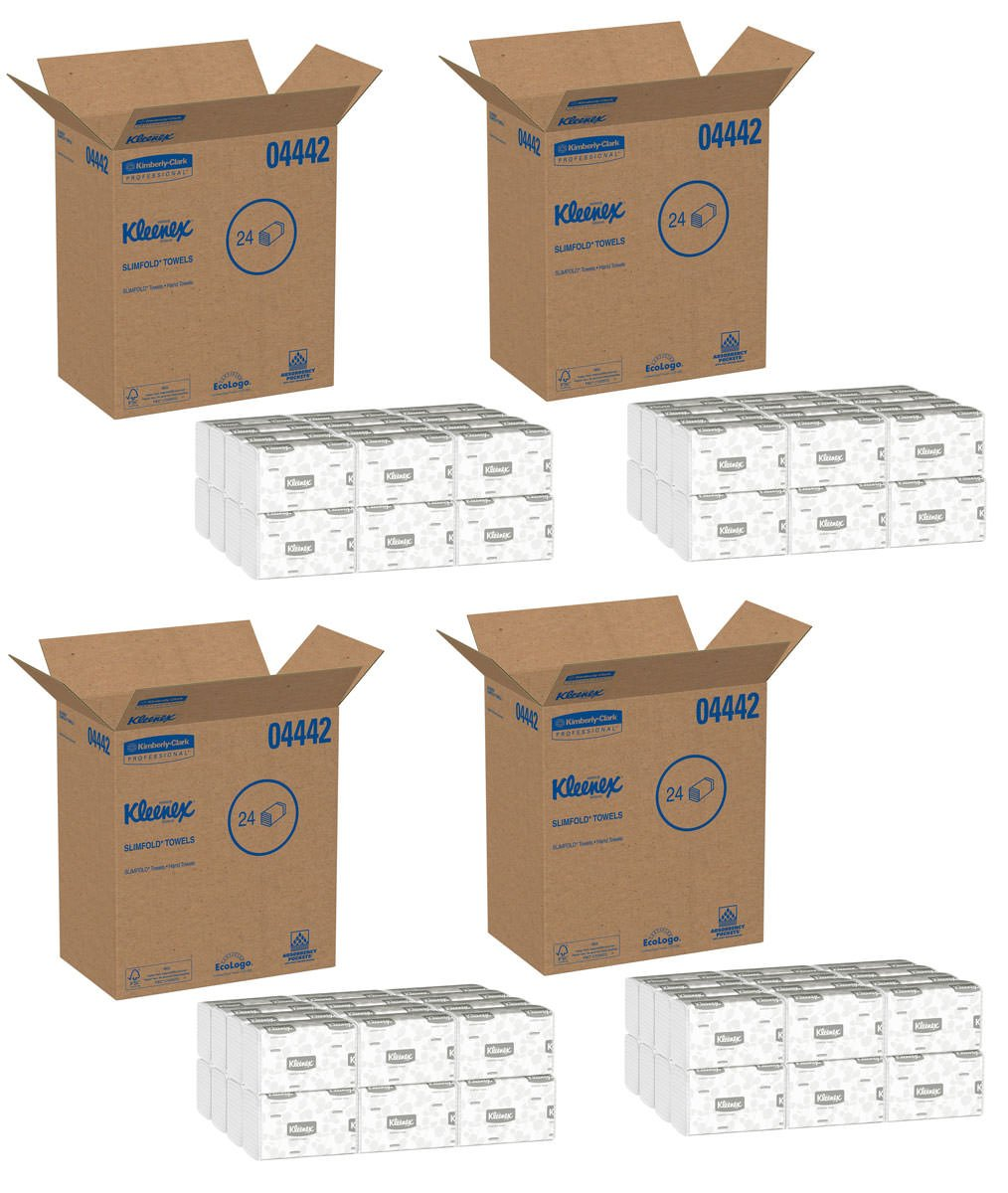 Kleenex 04442 Slimfold Paper Towels, 7 1/2 x 11 3/5, White, 90 per Pack (Case of 24 Packs), 4 Case