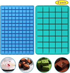 Gummy Candy Molds Silicone - 40-Cavity + 126 Cavity BPA Free Food Grade Nonstick Chocolate Gummy Molds Ice Cube Jelly Truffles Pralines Caramels Ganache Pack of 2