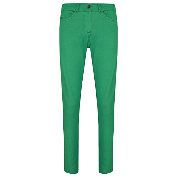 484698d8ee864 Amazon.com: Girls Skinny Jeans Kids Green Stretchy Denim Jeggings Fit Pants  Trousers 5-13 Yr: Clothing