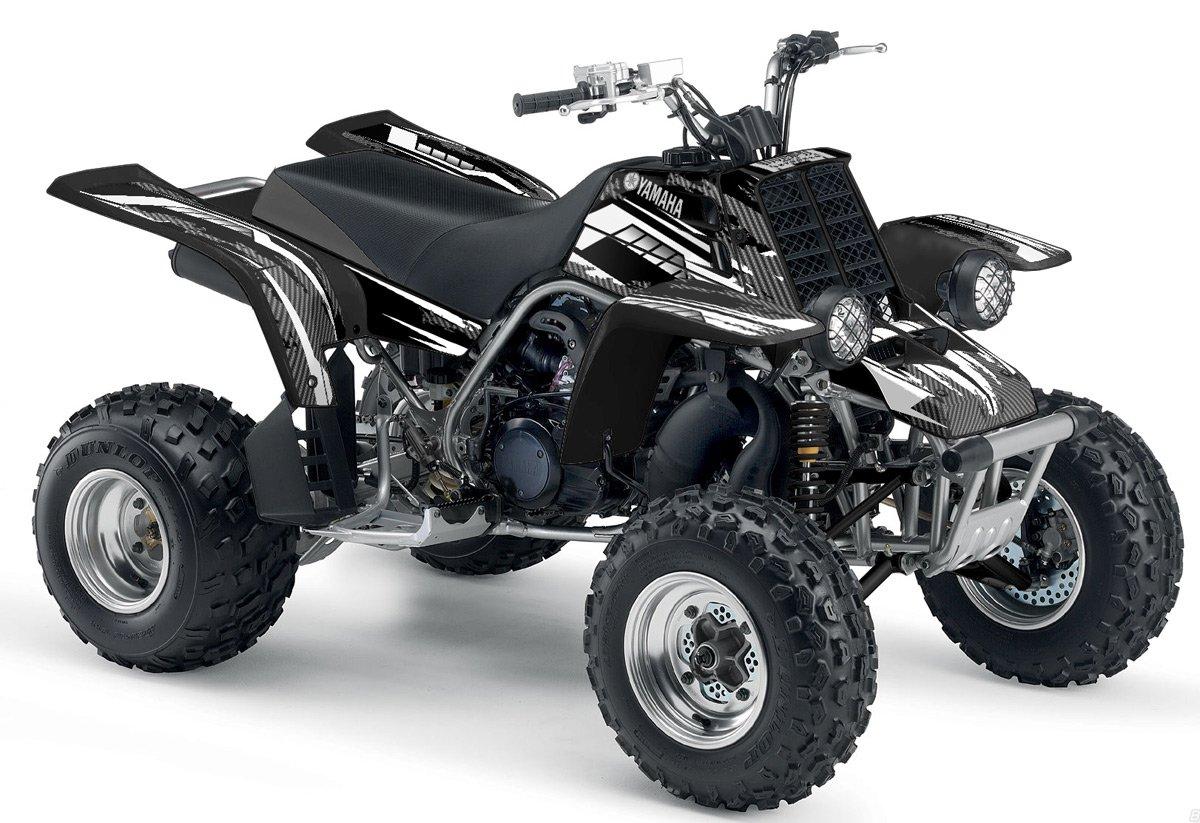 Yamaha Banshee Graphics - Racer-X Black Background, White Design by Invision Artworks (Image #1)