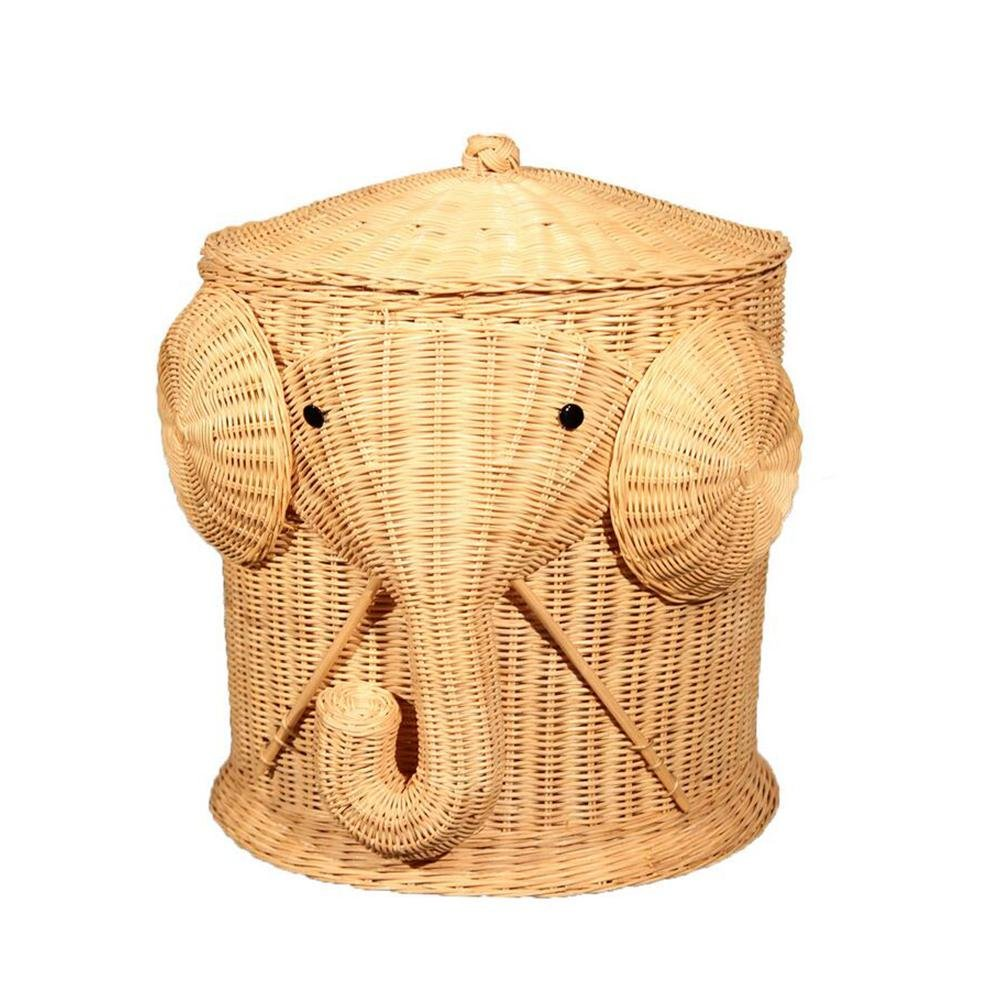 TSAR003 Pure Hand Rattan Animal Modeling With Lid Laundry Basket Dirty Clothes Toy Debris Collection Elephant