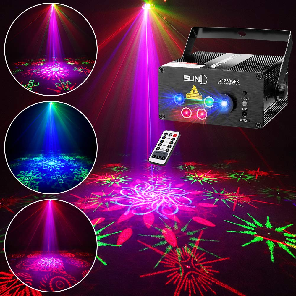 SUNY 128 RGB Patterns Stage Laser Light, Sound Activated DJ Party Light Multiple Gobos Laser Projector for Xmas Gift Bars Clubs Dance Light Show by SUNY