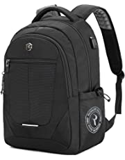 Laptop Backpack, Large Business Bags with USB Charging Port, Water Resistant College School Rucksack Travel Daypacks Fits up to 15.6-17 Inch Laptop and Notebook (Black)