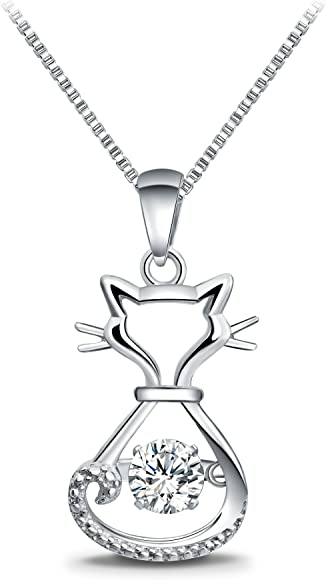 94c98b69c 925 Sterling Silver Dancing Diamond Stone Cubic Zirconia from Swarovski Cat  Fox Swan Pendant Necklace Birthday Gift for Women