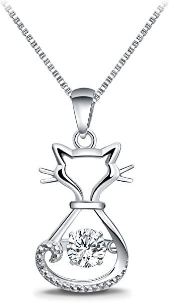 26454c4a417a T400 925 Sterling Silver Dancing Diamond Stone Cubic Zirconia from  Swarovski Cat Fox Swan Pendant Necklace