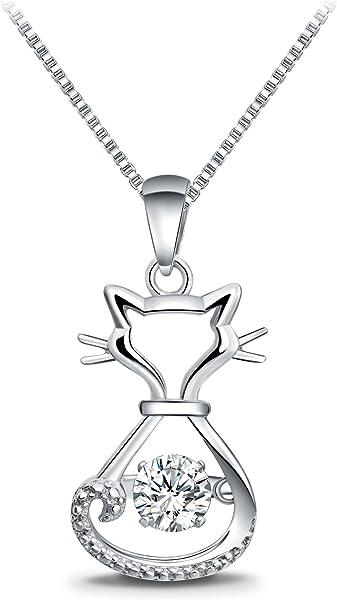 dd18a3b3cdf2 T400 925 Sterling Silver Dancing Diamond Stone Cubic Zirconia from  Swarovski Cat Fox Swan Pendant Necklace