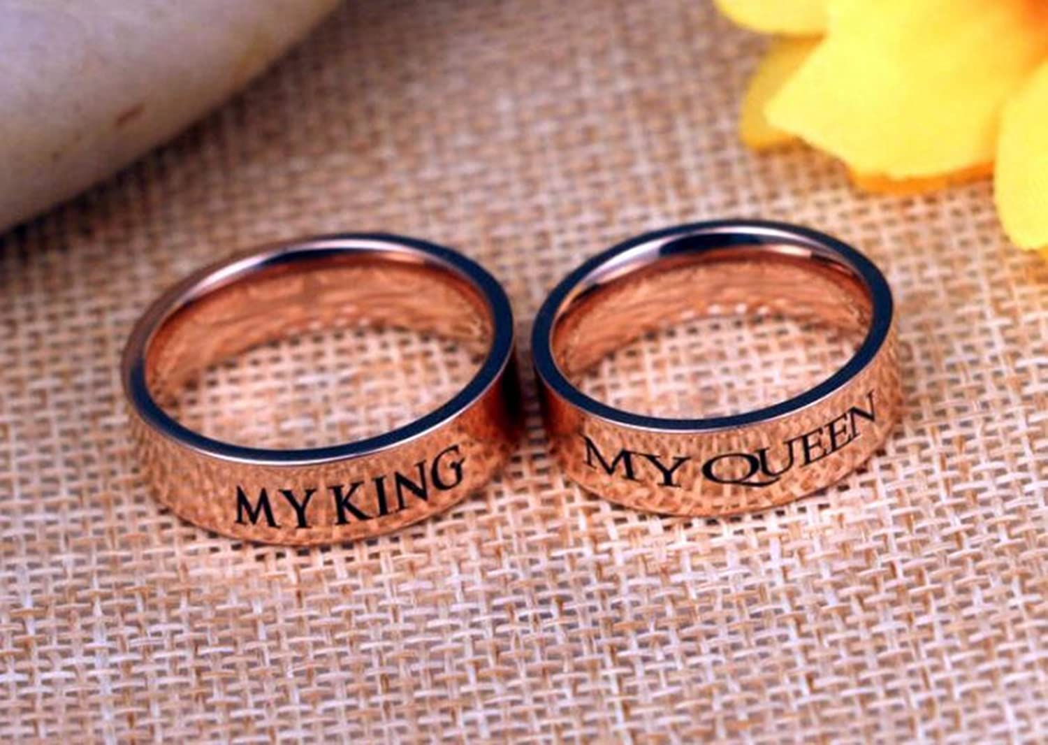 Wedding Band MY KING MY QUEEN Ring, Stainless Steel Wedding Band Set ...
