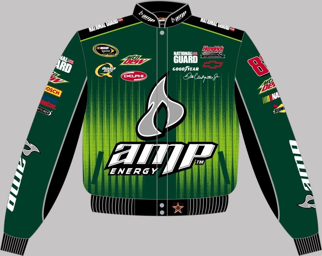 Dale Earnhardt Jr. Amp Adult Green Nascar Twill Jacket by JH Design