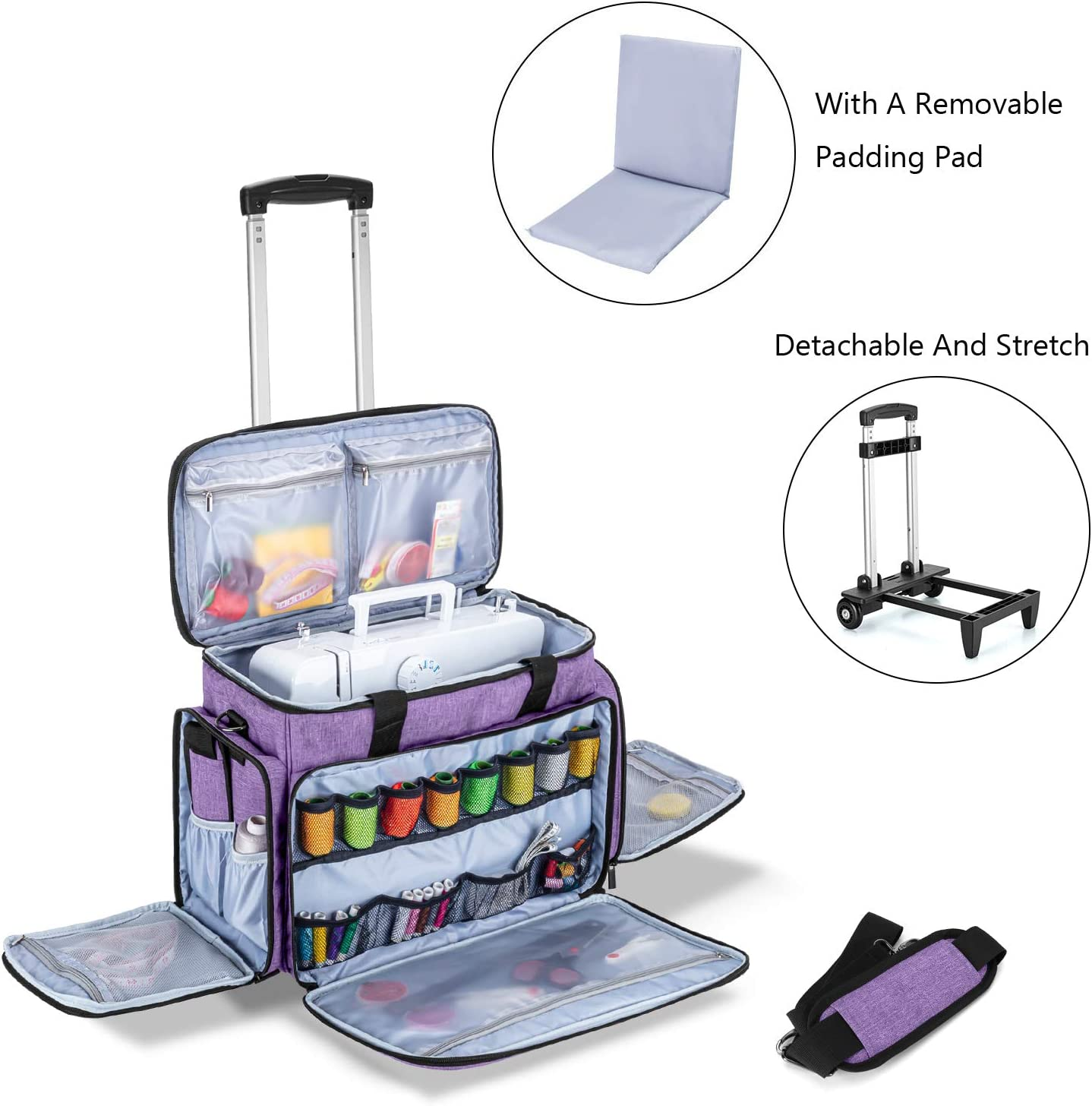 Patent Pending Luxja Sewing Machine Case with Detachable Trolley Dolly Sewing Machine Tote with Removable Bottom Pad Black