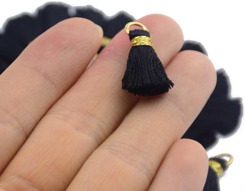 50 St/ück 0.8 Zoll Soft Handgemachte Seidige Glasschlacke Mini Quaste Ohrring Winzige Kurze Klobige Quasten mit Gold Jump Ring f/ür Ohrringe DIY Schmuck Machen Souvenir Schwarz