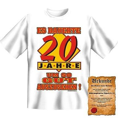 Lustige Sprüche T-Shirt Es dauerte 20 Jahre um so gut auszusehen! - 20 Geburtstag  tshirt mit Urkunde!: Amazon.de: Bekleidung