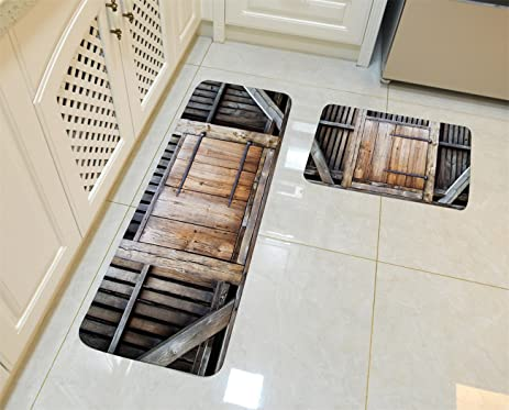 Kitchen Rugs, Goodbath Rustic Bard Door Country Decor Non Slip Kitchen Rug  Set 2 Piece