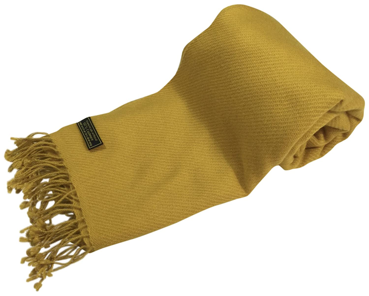 gold Beige High Grade 100% Cashmere Shawl Scarf Wrap Hand Made in Nepal NEW
