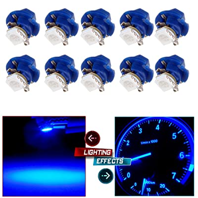 CCIYU (Total of 10 Pcs) Car T5 B8.4D 5050 1SMD Purple Blue LED Lamps Dashboard Side Indicator Lights: Automotive