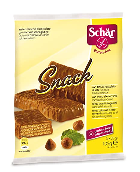 Dr. Schar Snack Barquillo Chocolate - Paquete de 3 x 35 gr - Total: