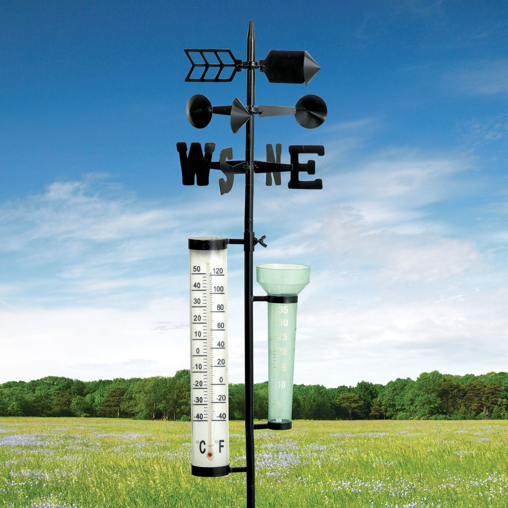 Bits and Pieces - Metal Weather Station - Measures Rainfall, Temperature, and Wind Direction/Velocity