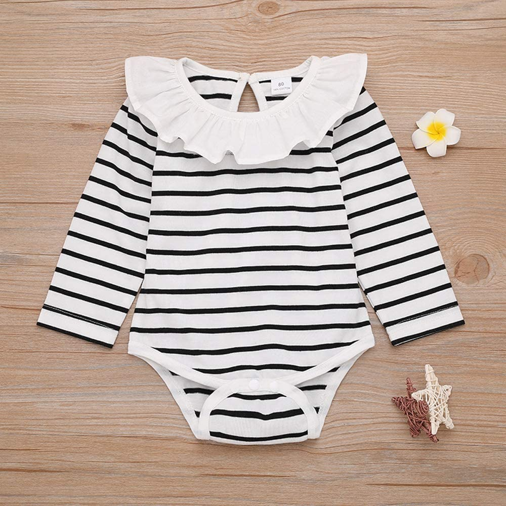 oklady Baby Girl Outfits Stripe Romper Ruffle Sleeve Tops Suspender Skirt with Headband Clothes Sets