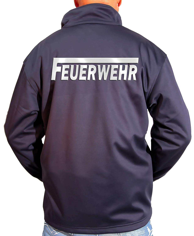 Coole-Fun-T-Shirts Feuerwehr Softshell Jacke ohne Kapuze f/ür Herren mit reflektierendem Druck vorne hinten S M L XL 2XL 3XL FF BF