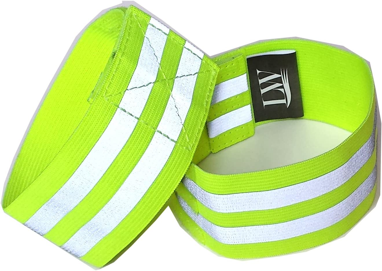 LW Reflective Ankle Band Wristband (Pair) Yellow Pink with Bonus Reflective Sticker