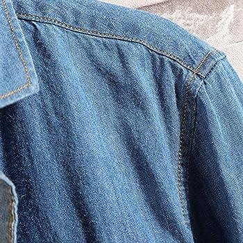 Camisa Vaquera Hombre Manga Larga Camisa de Mezclilla para Hombre Camisa Casual Manga Larga para Hombre de Moda Camiseta de Manga Larga Hombre Camisa Manga Larga Slim fit Camisa Vaquera: Amazon.es: Ropa