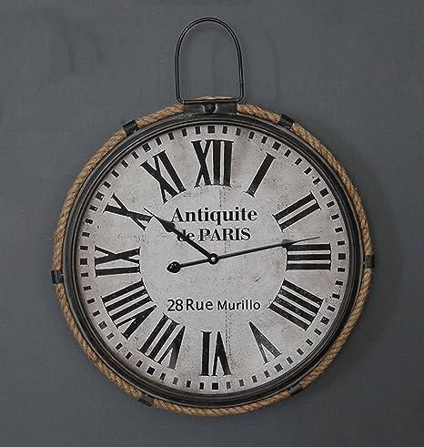 ZHENAI Viento industrial reloj de pared digital sala Retro talla grande metal fondo Relojes Decoración (