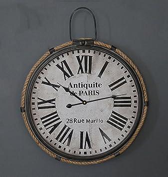 ZHENAI Viento industrial reloj de pared digital sala Retro talla grande metal fondo Relojes Decoración (Color : Blanco, Tamaño : 18 inches/47x57cm): ...