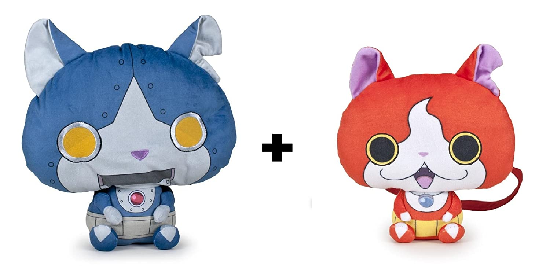 Yokai Watch - Pack 2 peluches Robonyan (azul 25cm) + bandolera Jibanyan (rojo 17cm) - Calidad super soft: Amazon.es: Juguetes y juegos