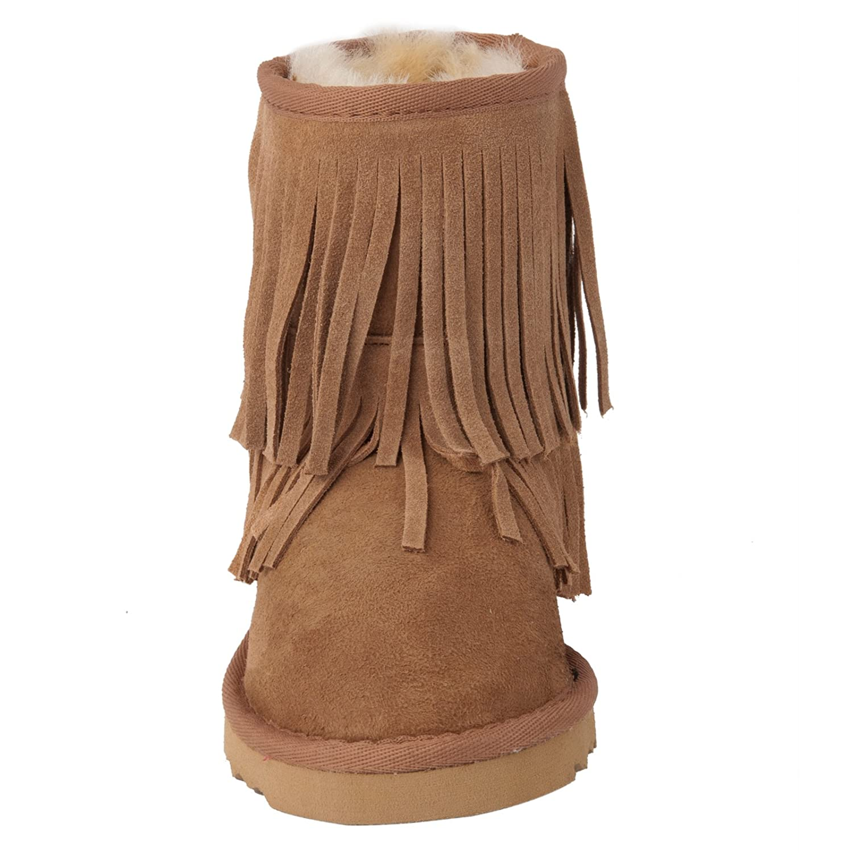 Momo Grow Girls Dahlia Fringe Sheepskin Shearling Boots