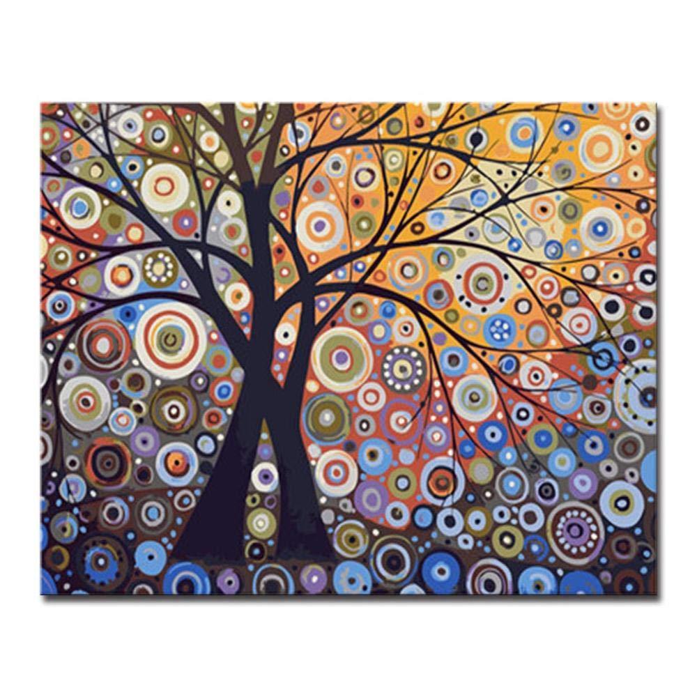 Dysdiy Bricolaje Pintura al óleo, Pintura por números Kits para Adultos Niños Pintura por número Kits Decoración para el hogar,Árbol de Luz de Deslumbramiento Abstracto 16*20 Pulgadas