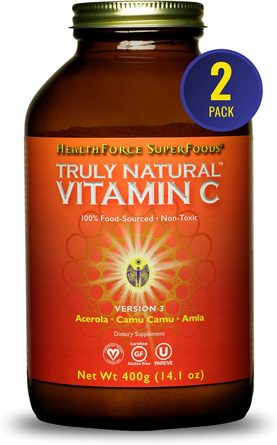 HealthForce SuperFoods Truly Natural Vitamin C - 400 Grams - Pack of 2 - Whole Food, Organic Vitamin C Complex from Acerola Cherry Powder - Immune Support - Vegan, Gluten Free - 134 Total Servings