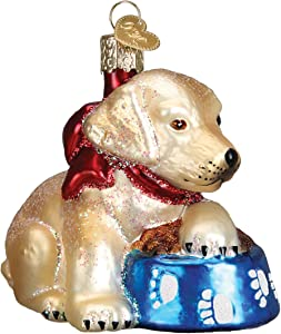 Old World Christmas Ornaments: Labrador Pup Glass Blown Ornaments for Christmas Tree (12458)