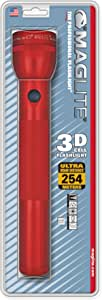 Maglite Heavy-Duty Incandescent 3-Cell D Flashlight, Red