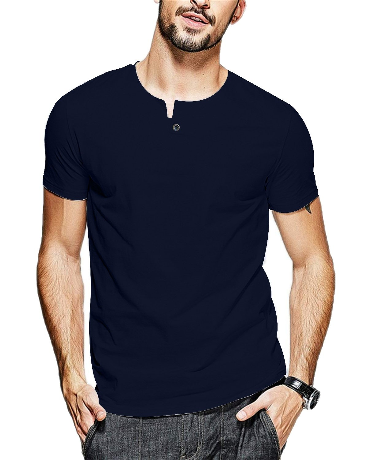 JNC 100% Cotton Mens Summer Casual Button Slim Fit Pure Color Short Sleeve Henley T-Shirts (X-Large, Navy Blue)