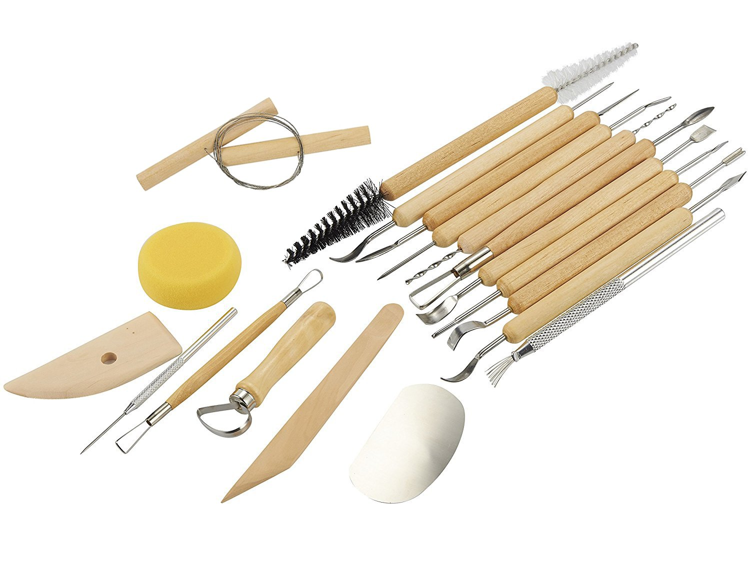 Sculpting Tools - 11-Piece Pottery Carving Tools Set - Double-Sided Ceramic Modeling Tools for Clay and Wood Sculpture Arts - Steel and Hard Wood Handles Juvale 4336842374