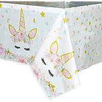 WERNNSAI Mantel del Unicornio - 110 x 180 cm Suministros de Fiesta Unicornio Mágico para Niños Chicas Cumpleaños Boda…