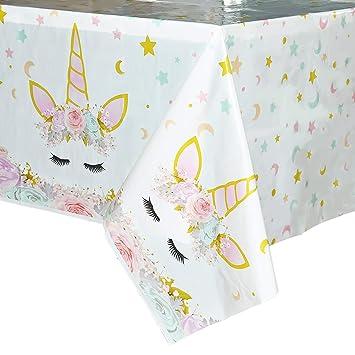 WERNNSAI Mantel del Unicornio - 4 Piezas 110 x 180 cm Suministros de Fiesta Unicornio Mágico para Niños Chicas Cumpleaños Boda Baby Shower Decoración, ...