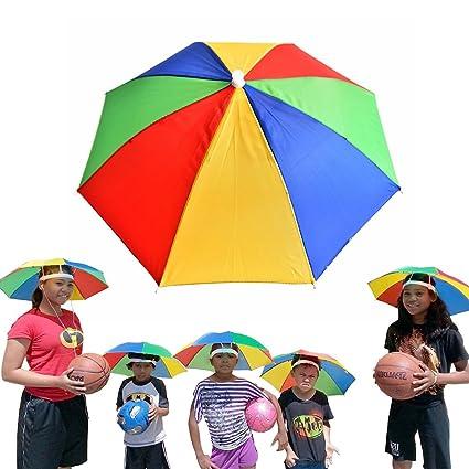 28a4ca141305b Amazon.com  Meanhoo Umbrella Hat Multicolor Foldable Elastic Headband Sun  Rain Umbrella Cap For Party