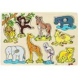 Goki - 2041551 - Puzzle En Bois À Encastrement - Africaine Jeunes Animaux - 9 Pièces