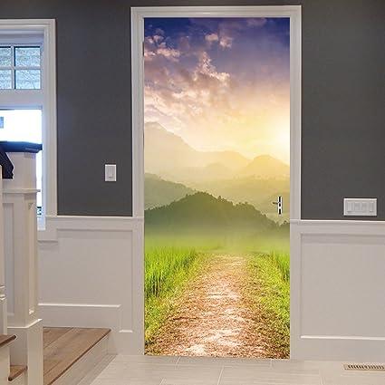 Amazon.com: Sykdybz Forest Road Creative Wall Sticker 3D Door Decals ...