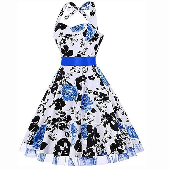 Amazon.com: Women Sleeveless V Neck Halter Print Swing Dress Puff Skirt Vintage Retro 1950s Audrey Hepburn Cocktail Party Dress Toponly: Arts, ...